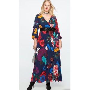 Eloquii Wrap Kimono Maxi Floral Dress 20 NWOT